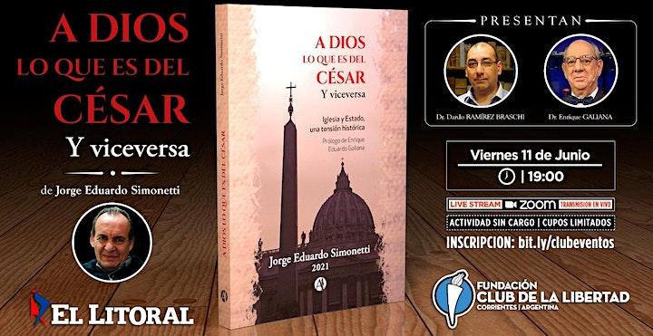 """Imagen de CLUB DE LA LIBERTAD - PRESENTACIÓN DEL LIBRO """"A DIOS LO QUE ES DEL CESAR"""""""