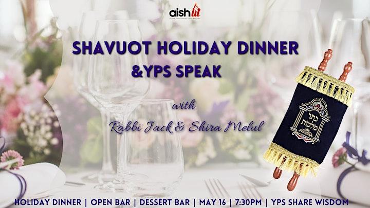 Shavuot Festive Dinner, Open Bar & YPs Speak image