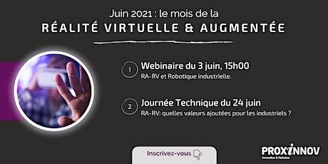 """""""Réalité virtuelle et Réalité Augmentée"""" : webinaire et journée technique. billets"""