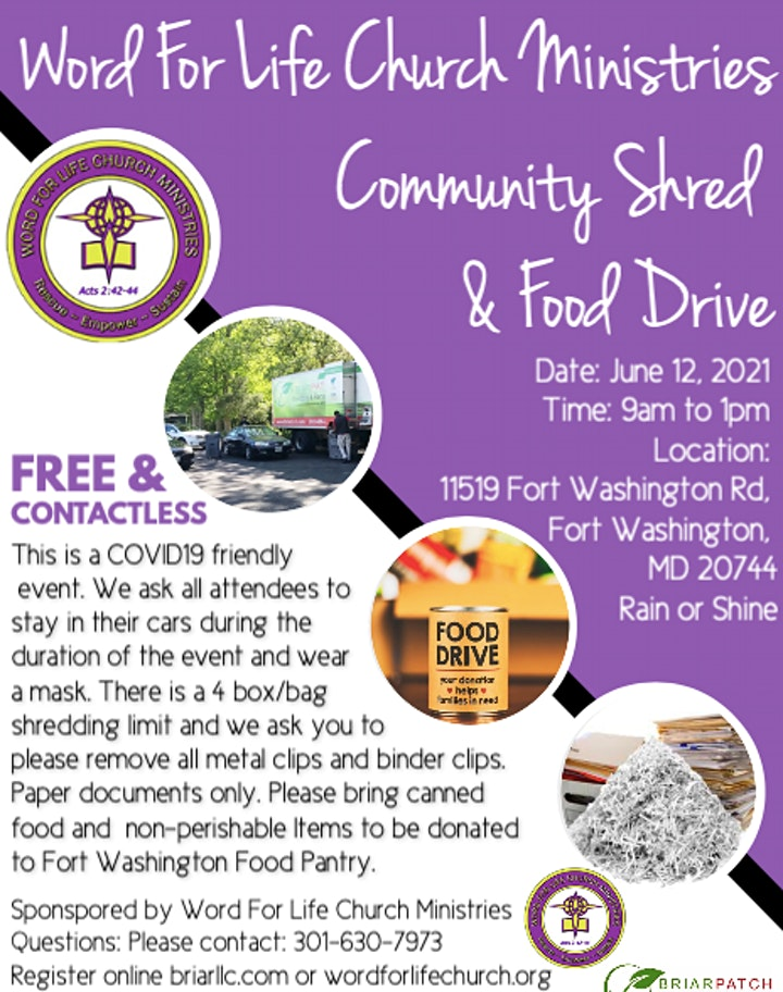 Word For Life Church Ministries Community Shred and Food Drive image
