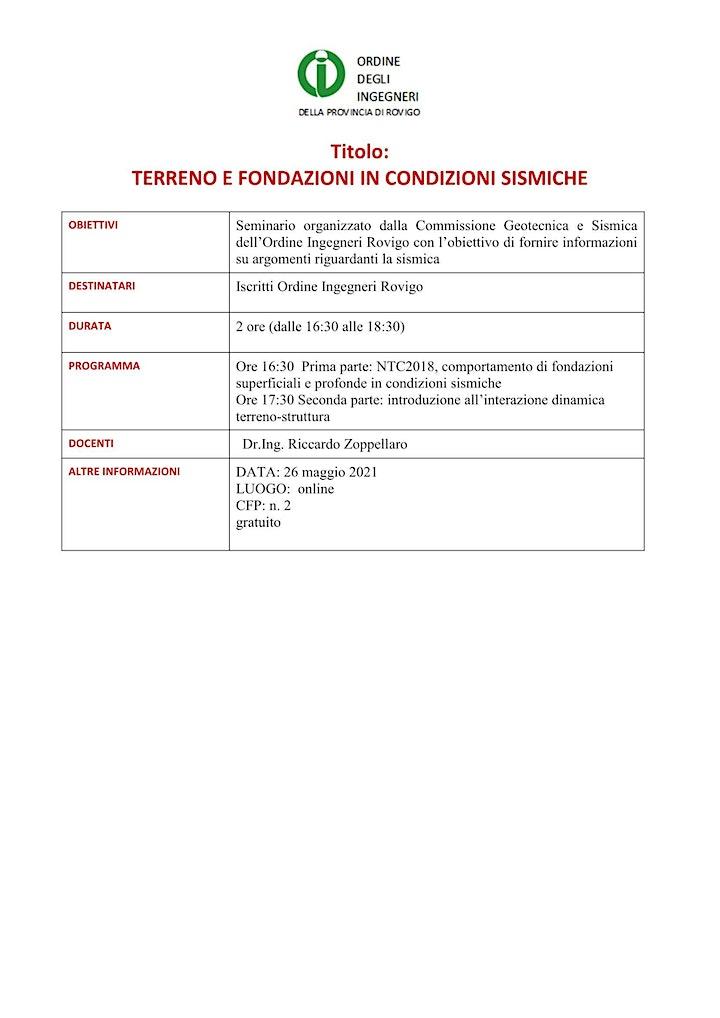 Immagine TERRENO E FONDAZIONI IN CONDIZIONI SISMICHE