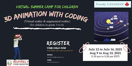 Virtual Summer Camp | 3D Animation with Coding | For Children in grade 3-6 Tickets