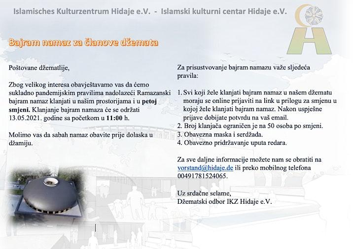 5. smjena Bajram namaz za članove džemata u IKZ Hidaje 13.05.2021: Bild
