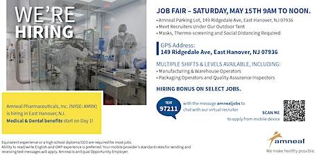 Onsite Job Fair  in East Hanover NJ - Amneal Pharmaceuticals tickets
