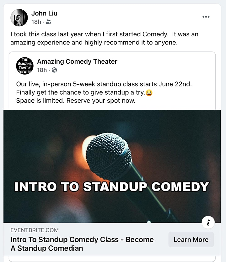 Intro To Standup Comedy Class - Become A Standup Comedian - Tuesdays image