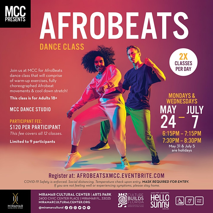 EXPERIENCE MCC: Afro-Beat Dance Class : May 24 - July 7 image