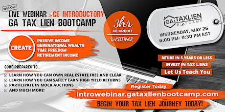 Introductory GA Tax Lien Bootcamp Live Webinar  [May 26, 2021] tickets