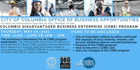 City of Columbia CDBE Program - Key Changes (Session 2) tickets