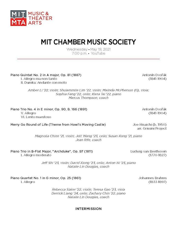 MIT Chamber Music Society Spring Virtual Concert Series: Showcase #1 image