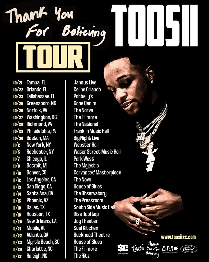 Toosii - Thank You For Believing TOUR image
