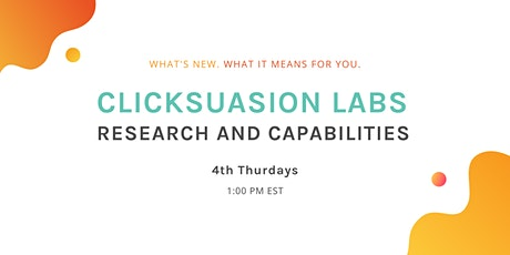 Research and Capabilities - 4th Thursdays @ 1:00 PM EST tickets