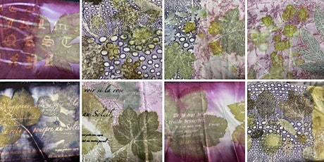 Botanical Textured background and Printed texts for Eco-Printed textiles tickets