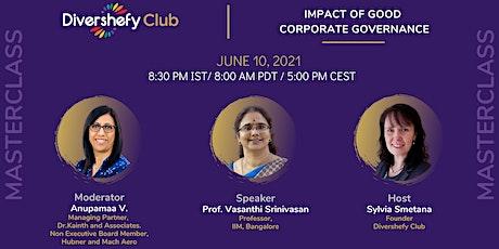 MasterClass -  Impact of Good Corporate Governance. tickets