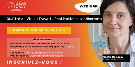 """Webinar - """"Qualité de Vie au Travail - Restitution aux adhérents"""" billets"""