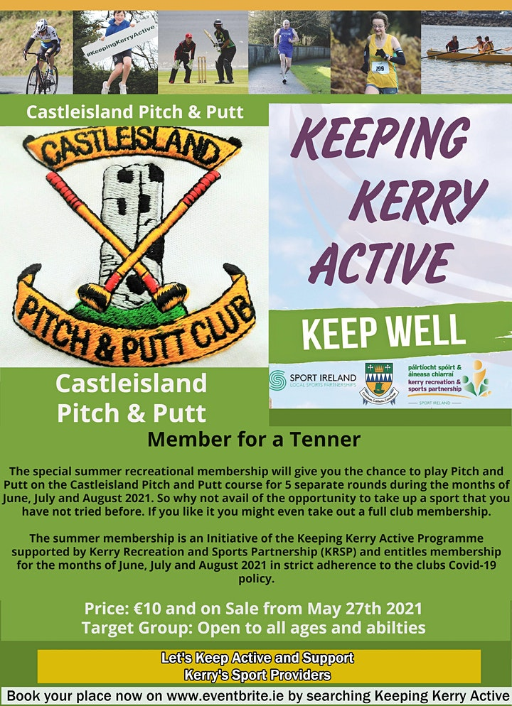 Keeping Kerry Active -  Member for a Tenner (Castleisland Pitch & Putt) image