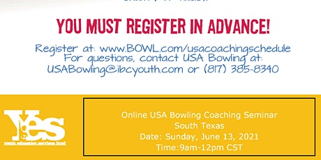 FREE USA Bowling Online Coaching Seminar - South Texas tickets