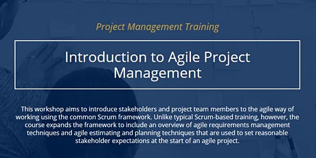 Introduction to Agile Project Management [ONLINE] tickets