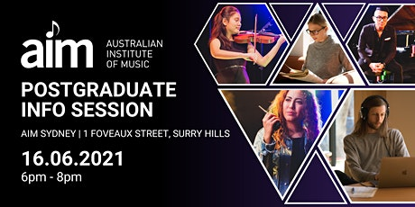 Info Session: Postgraduate Music Programs | On Campus, Sydney |16 June 2021 tickets