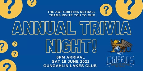 ACT Griffins Annual Trivia Night 19th June 2021 tickets