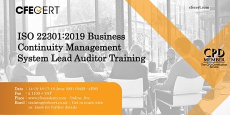ISO 22301:2019 Business Continuity Management System Lead Auditor Training tickets