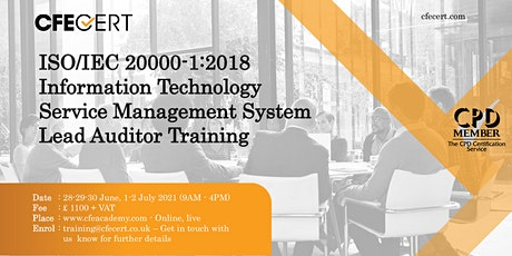 ISO/IEC 20000-1:2018 ITSMS Lead Auditor Training tickets