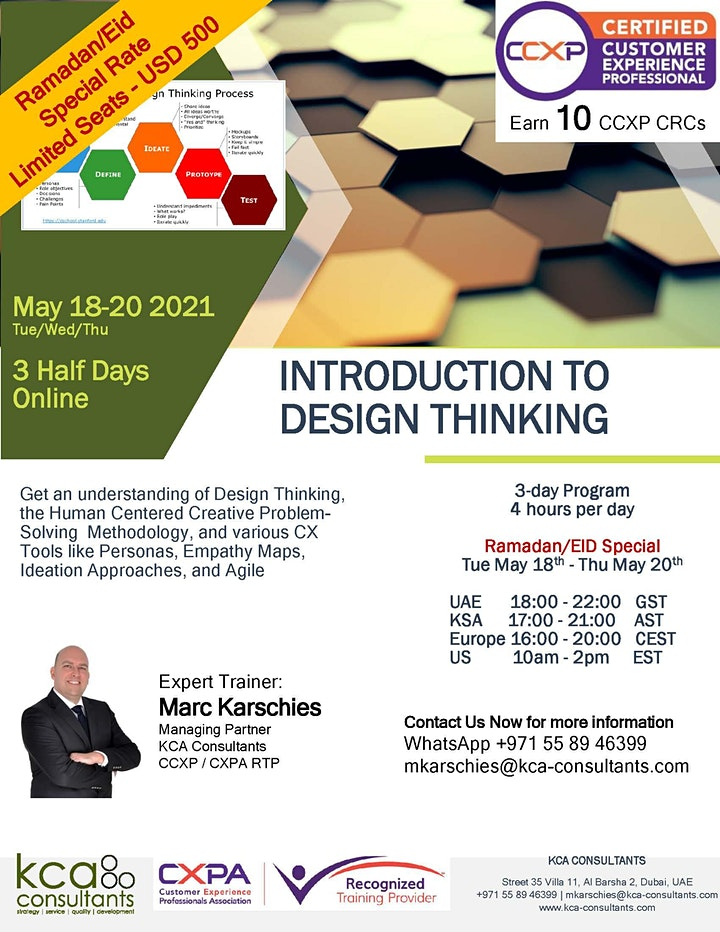 Introduction to Design Thinking - 3 Half-Day Course - CXPA RTP Accredited image