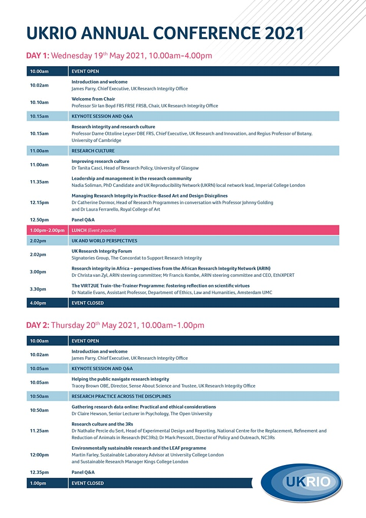 UKRIO Annual Conference 2021 (research integrity two-day event) image
