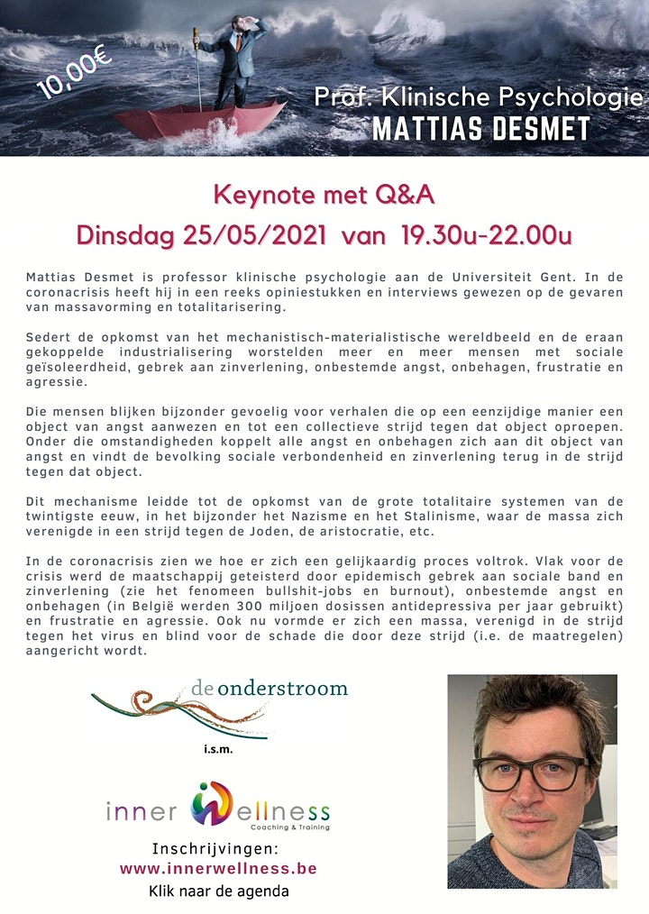 Afbeelding van Mattias Desmet: Keynote met live Q&A