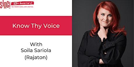 Know Thy Voice with Soila Sariola (Rajaton) tickets