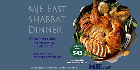 MJE East Shabbat Dinner tickets