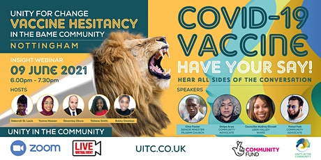 UNITY FOR CHANGE VACCINE HESITANCY IN THE BAME COMMUNITY RESPONSES TO COVID tickets