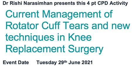 An evening of Orthopaedics - Updates in treatment of Shoulders and Knees tickets