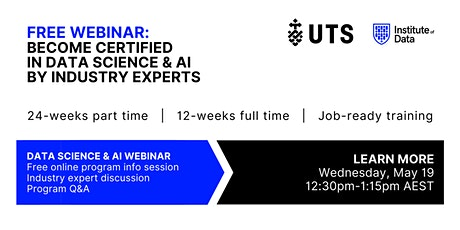 Webinar - Data Science & AI Program - Online Info Session: 12:30pm - May 19 tickets