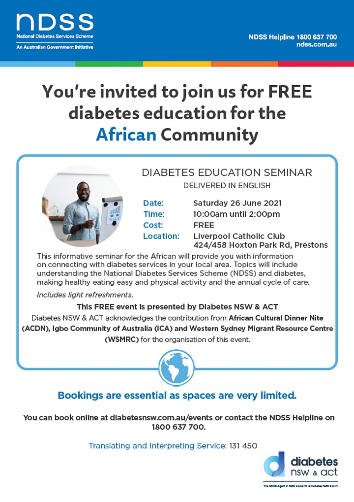 [Cancelled] African Diabetes Seminar - Prestons - 26/06/2021 image