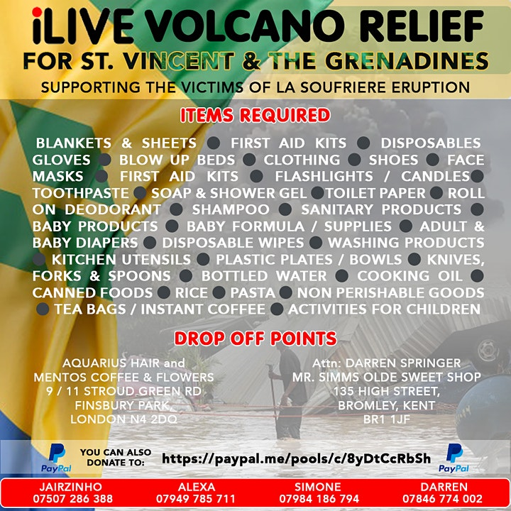 iLive Volcano Relief Fundraiser & Awareness Event for  St.Vincent image