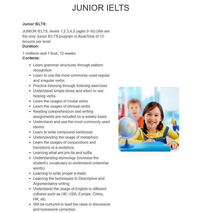 Junior IELTS Course with TAEASLA! (USD $2.99/class)  (10 classes in total) image