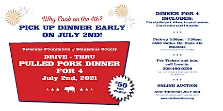 Veterans Foundation PULLED PORK DRIVE THRU DINNER FOR 4 PEOPLE tickets