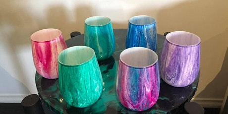 Paint Pouring Stemless Wine Glasses Class tickets