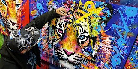 Présentation de la fresque murale de Marko93 DarkVapor durant la Biam billets