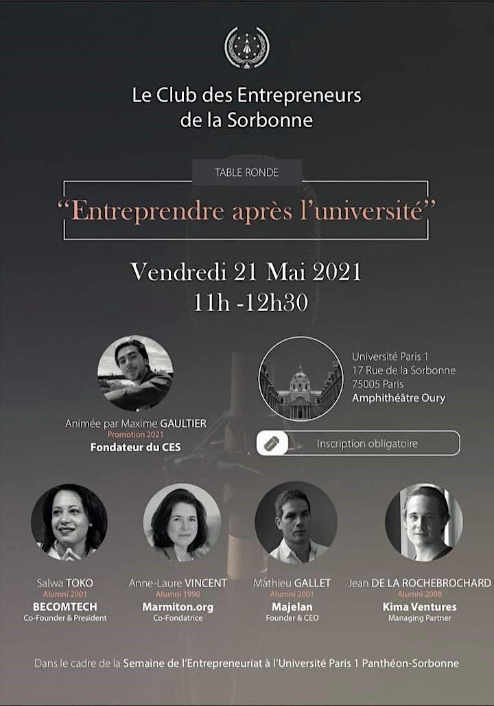 Image pour Table ronde - Club des Entrepreneurs de la Sorbonne