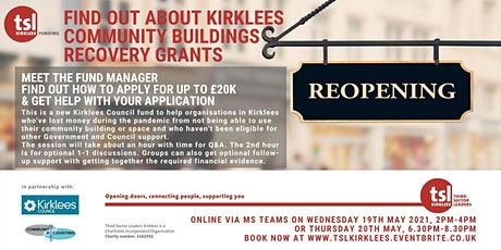 Find Out About Kirklees Community Buildings Recovery Grants tickets