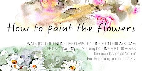 Short-term How to paint flowers online live art course. tickets