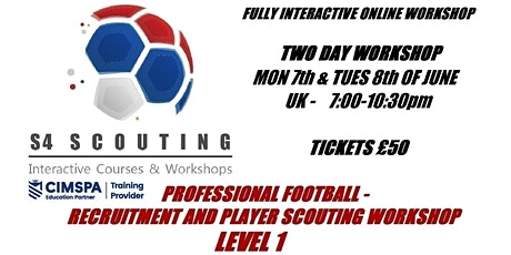 PROFESSIONAL FOOTBALL - RECRUITMENT AND PLAYER SCOUTING WORKSHOP - LEVEL 1 tickets