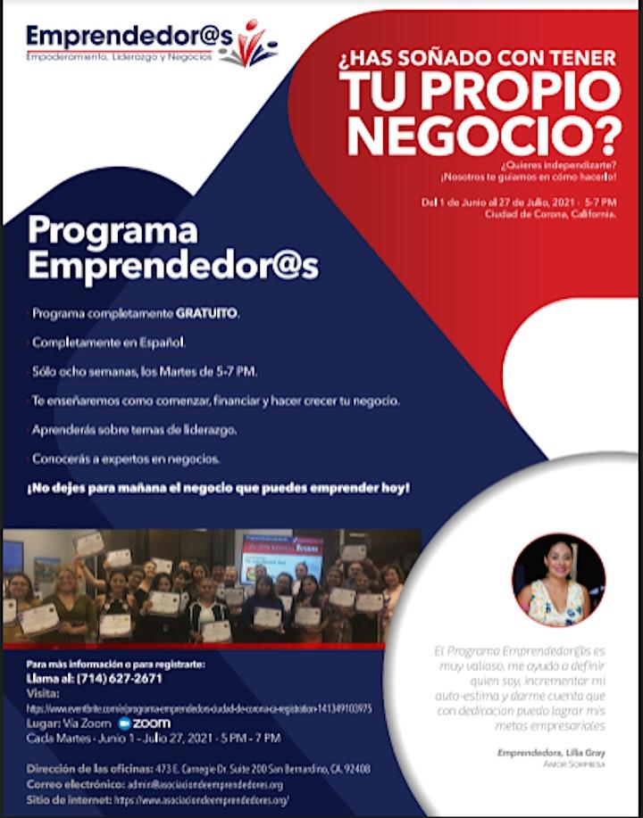 Imagen de Programa Emprendedor@s_Ciudad de Corona, CA.