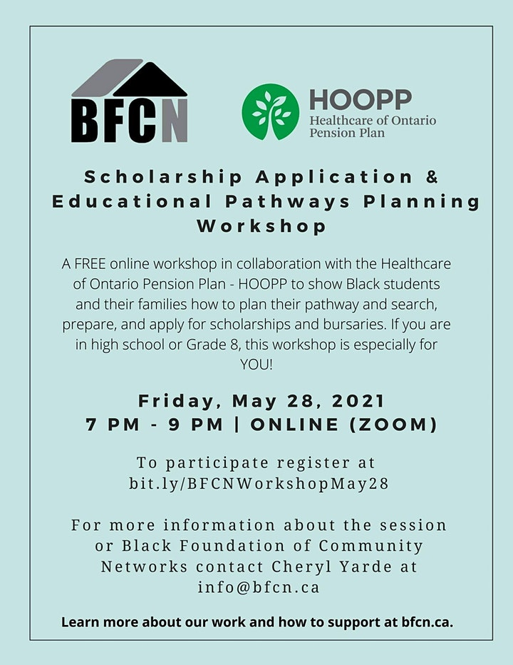 BFCN Scholarship Application & Educational Pathways Planning Workshop image