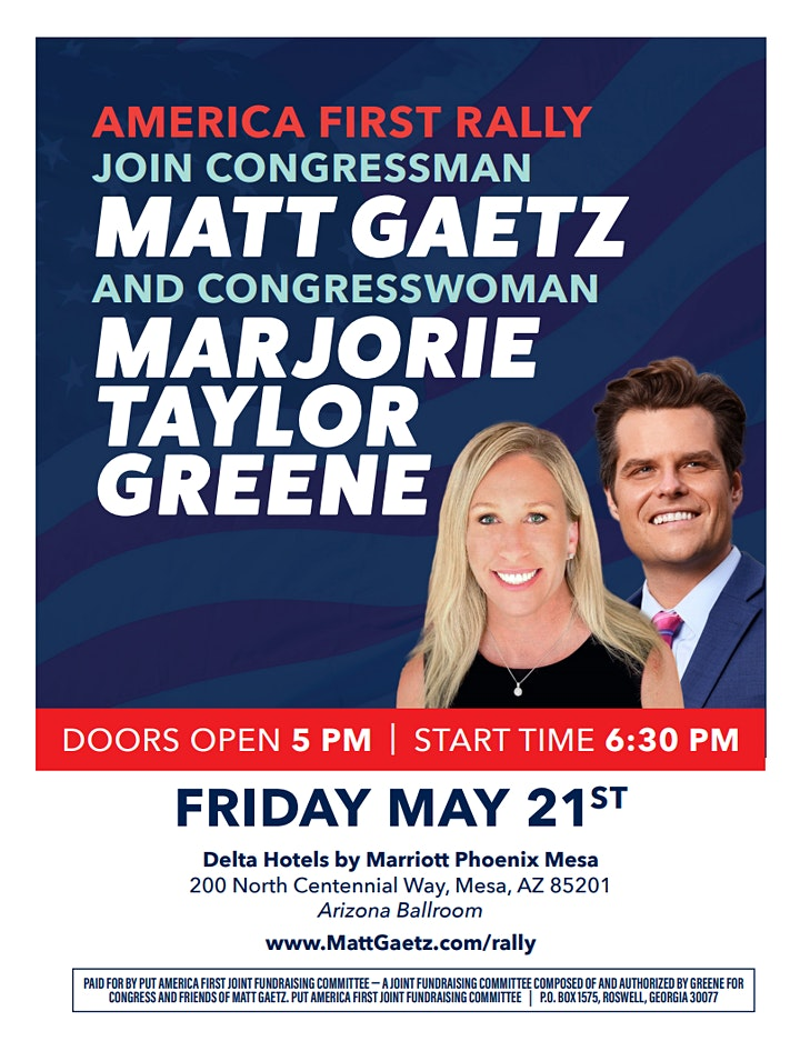 America First Rally with Congressman Gaetz and Congresswoman Greene image
