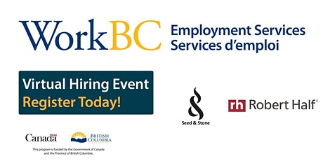 WorkBC SSWR/Cloverdale virtual hiring event with Seed&Stone and Robert Half tickets