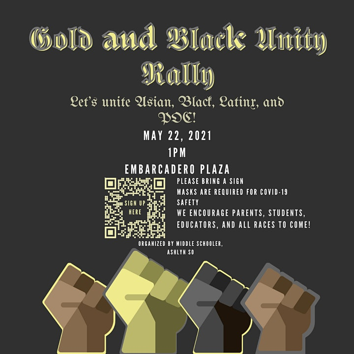 Gold and Black Unity Rally: Let's Unite Asians, Black, Latinx, and POC! image