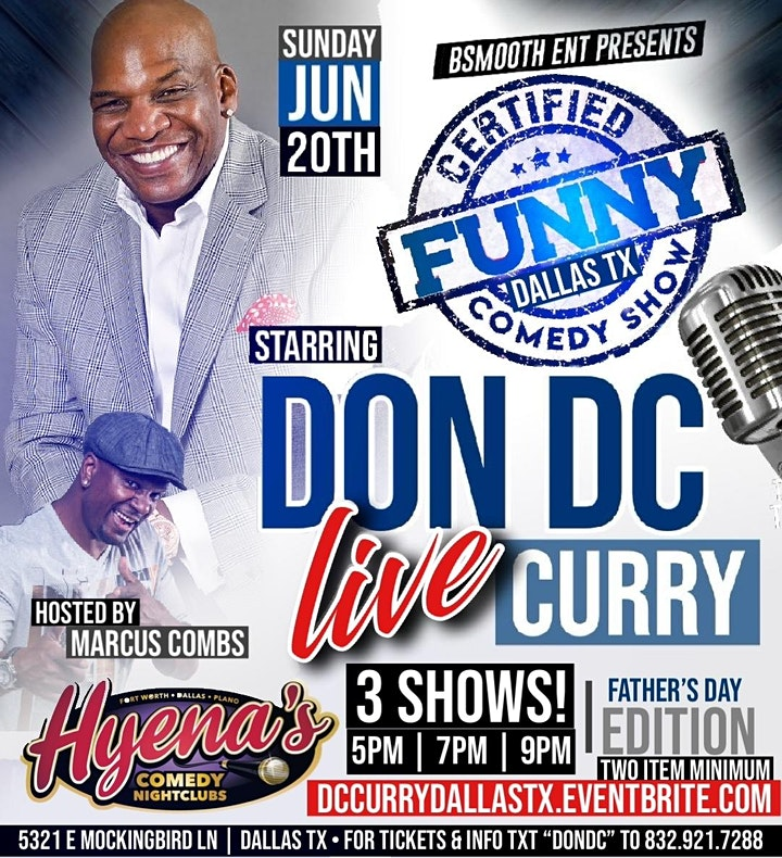 """DFW  Certified """"Funny"""" Comedy Show Fathers Day Edition w/ Don DC Curry image"""