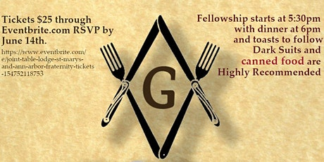 Joint Table Lodge St Mary's and Ann Arbor Fraternity tickets